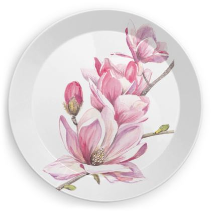 Magnolia and Pink Geo Party Plates