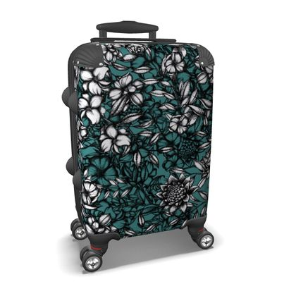 White Flower and Blue Suitcase
