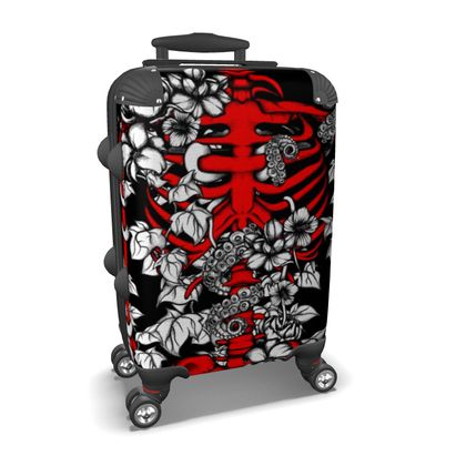 Red Skeleton and Flowers Suitcase