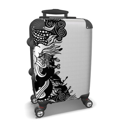Floral White Suitcase