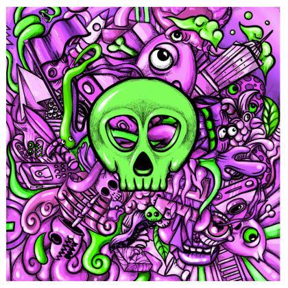 Green Skull Suitcase