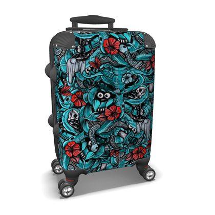 Doodle Bones Blue Suitcase