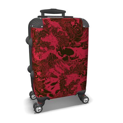 Dark Red Waves Suitcase