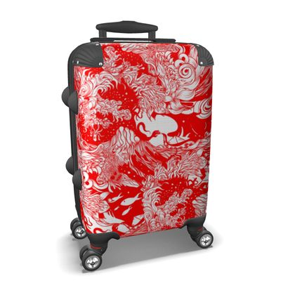 Red Waves Suitcase