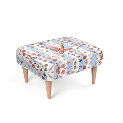 490,- feiner Polsterhocker, Footstool im mediterranen Design, hellblau, passend zum Sessel