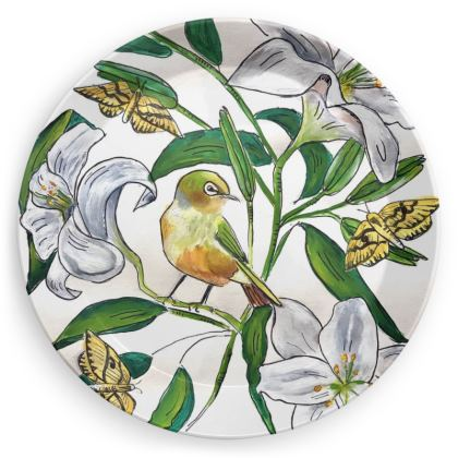 Lily and Wax Eye picnic plate
