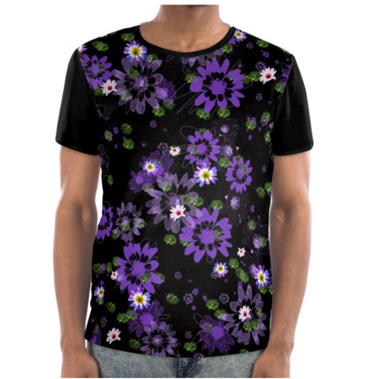 Men's T-shirt - Purple Daisy Flowers