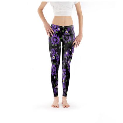 Leggings - Purple Daisy Flower on Black