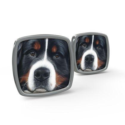 Bernese Mountain Dog Cufflinks - Up Close