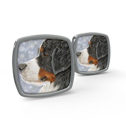 Bernese Mountain Dog Cufflinks - Let It Snow
