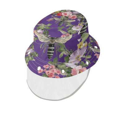 Purple Flora and Bees Bucket Hat and Visor