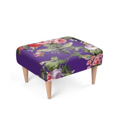 Purple Flora and Bees Footstool