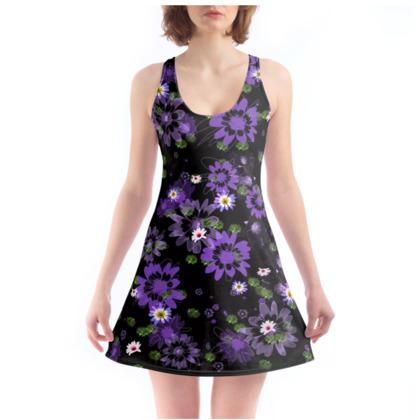 Chemise - Purple Daisy Flower on Black