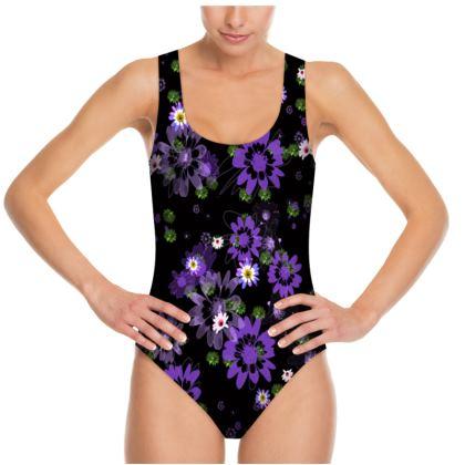 Swimsuit - Purple Daisy Flowers
