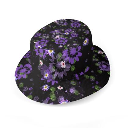 Bucket Hat - Purple Daisy Flowers on Black