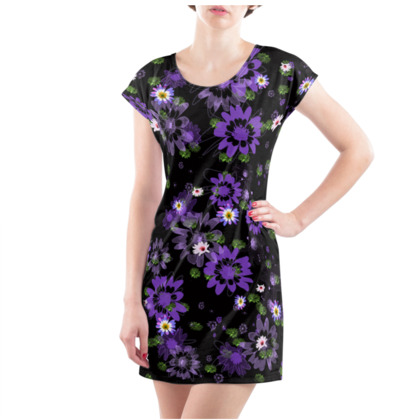 Tunic T-shrit with Purple Daisy Flowers