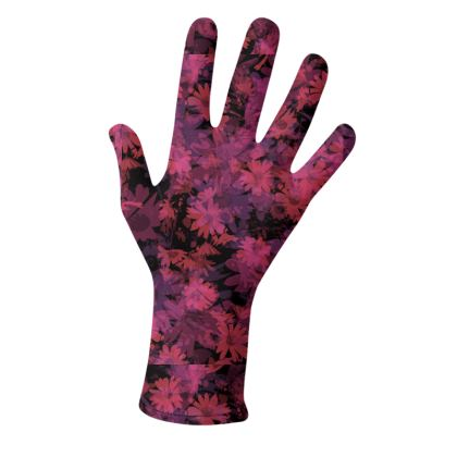 2 PAIRS PACK - Gloves / Flowers in Wine and Violet Black
