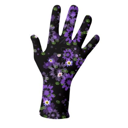 2 PAIRS PACK - Gloves / Colour Flowers on Black