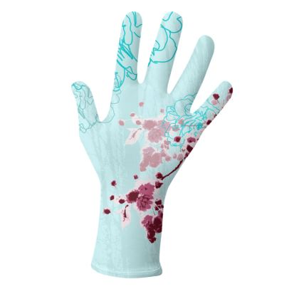 2 PAIRS PACK - Gloves / Floral on AQua Blue