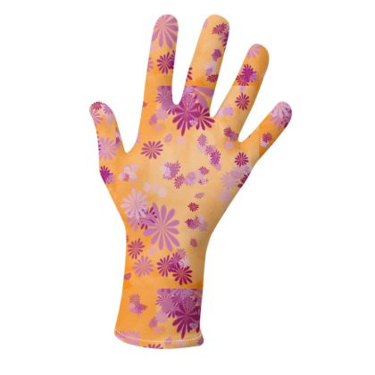 2 PAIRS PACK - Gloves / Flowers and lines in Yellow