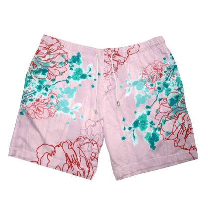 MENS SWIMMING SHORTS - Floral in PINK