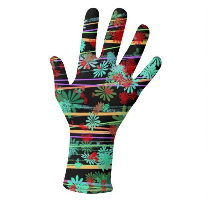 2 PAIRS PACK - Gloves / Flowers and lines on Black