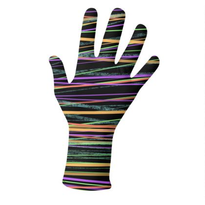 2 PAIRS PACK - Gloves / Lines and Flowers on Black