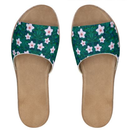 porcelain flowers  on leaves Womens Leather Sliders