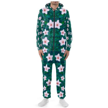 porcelain flowers  on leaves Cut & Sew Onesie