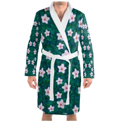 porcelain flowers  on leaves Dressing Gown