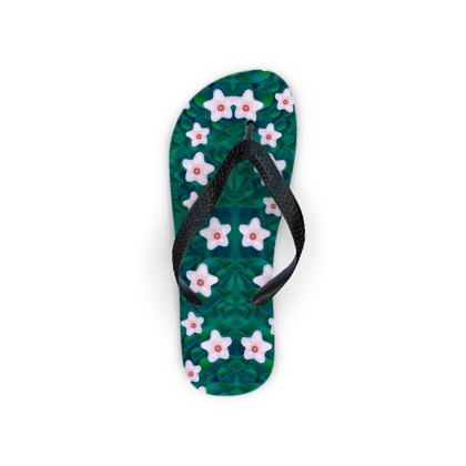 porcelain flowers  on leaves Flip Flops