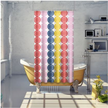 Bright symmetry circles shower curtain