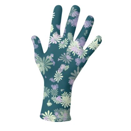 2 PAIRS PACK - Gloves Floral Aqua Blue and Black