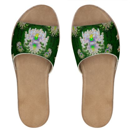 one island one gnome Womens Leather Sliders