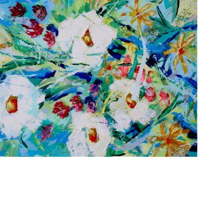 White Flowers on Blue Purse by Alison Gargett Artist