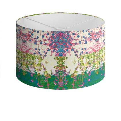 Emerald Leaf Print Drum Lamp Shade