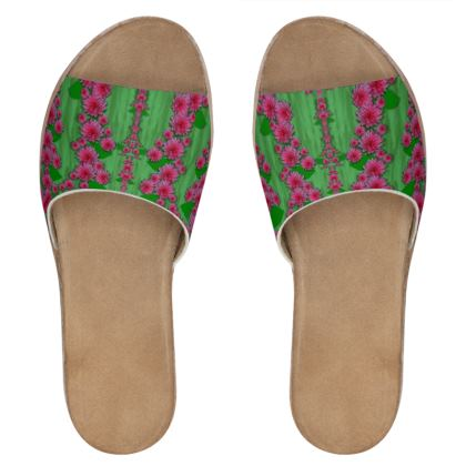 lianas of sakura branches Womens Leather Sliders