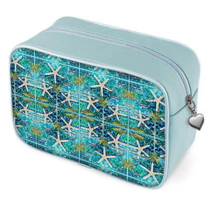 SEASTAR and Tiffany Design Wah Bag, Kulturbeutel Leder, beidseitig bedruckt.