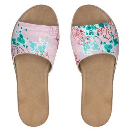 Women's Sliders - Floral in Pink