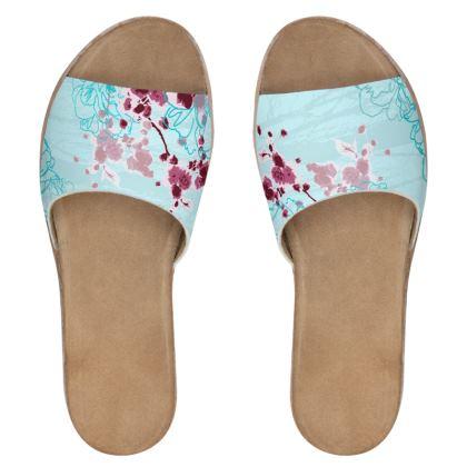 Women's Sliders - Aqua Blue Floral