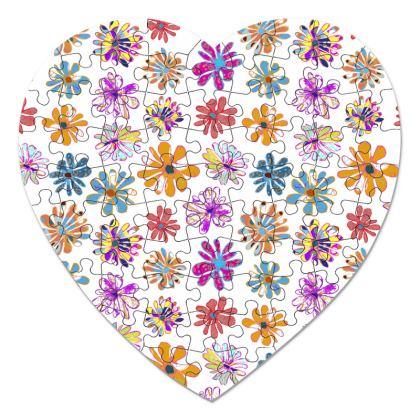 Rainbow Daisies Collection Heart Jigsaw