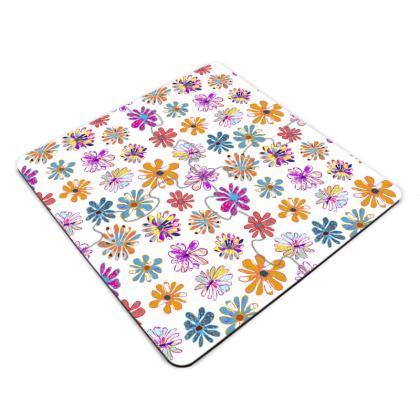 Rainbow Daisies Collection Jigsaw Coasters