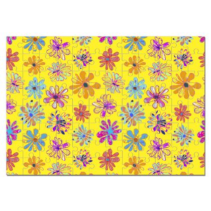Rainbow Daisies Collection on yellow Jigsaw Puzzle