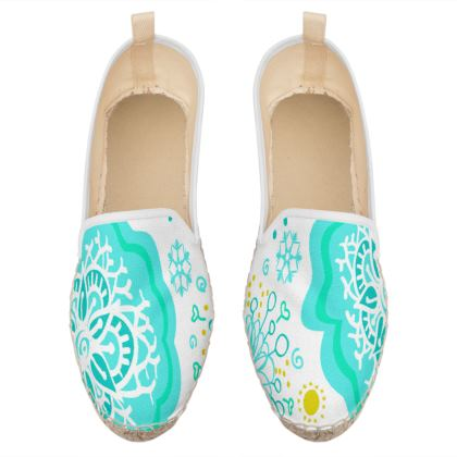 blue and yellow mandala loafer espadrilles