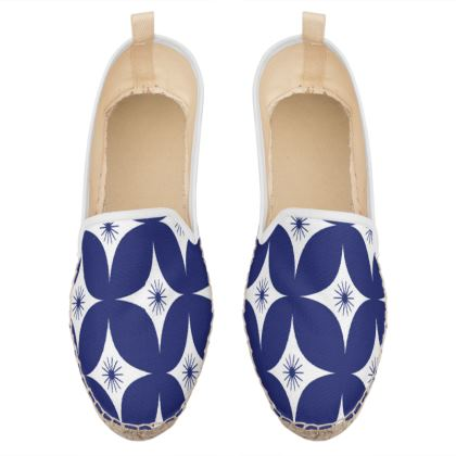 blue white pattern loafer espadrilles