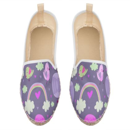 rainbow and birds loafer espadrilles