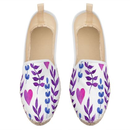 floral and hearts loafer espadrilles