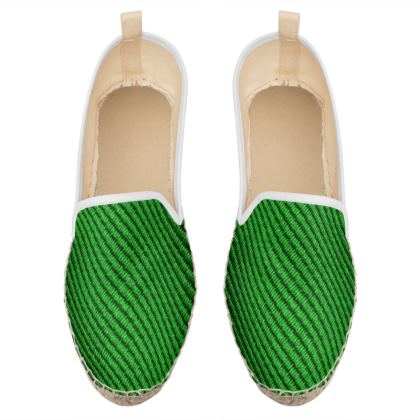 green fabric loafer espadrilles