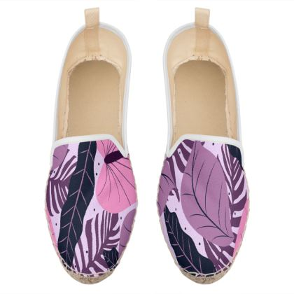 exotic leaves in purple loafer espadrilles
