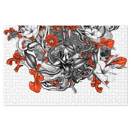 Floral White Jigsaw Puzzle